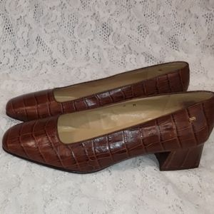 Vtg Etienne Aigner Croc Shoes Pumps Low Heel 7M